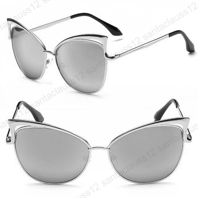 Nuovo oversize occhiali da sole occhi di gatto lenti a specchio uv400 donna - Occhiali lenti blu specchio ...