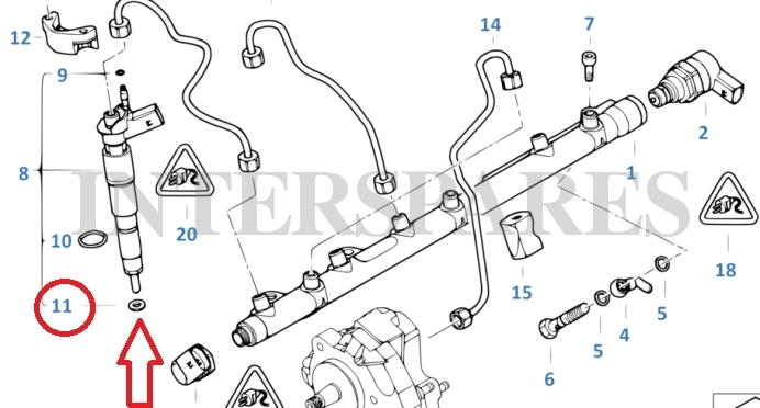 bosch diesel injector thermo shim bmw 2 5d 3 0d 3 5d 13 53